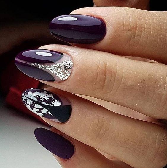 Fioletowe paznokcie z wzorkami