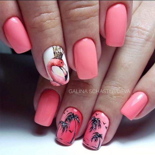 Malinowe paznokcie z flamingami