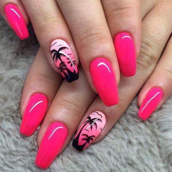 Malinowe paznokcie z palmami