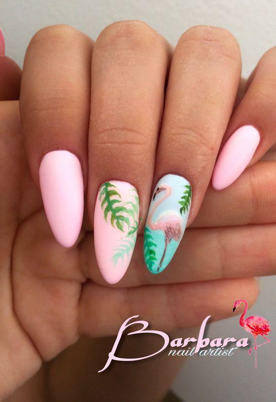 Matowe paznokcie z flamingiem