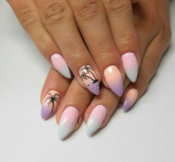 Ombre paznokcie z palmami