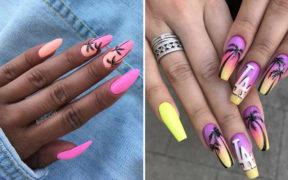 Pomysłowe paznokcie z palmami na lato 2019