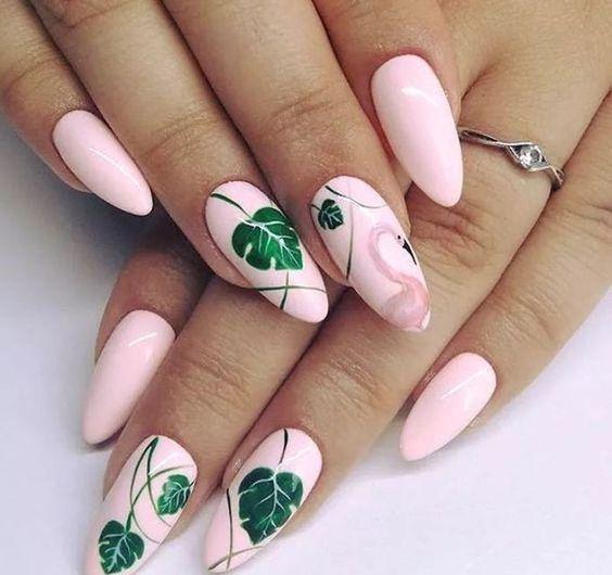 Różowe paznokcie z efektem flaminga