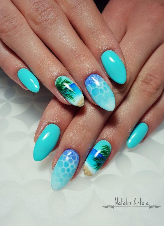 Turkusowe paznokcie z palmami