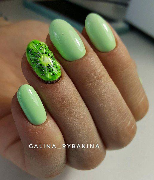Zielone paznokcie z kiwi