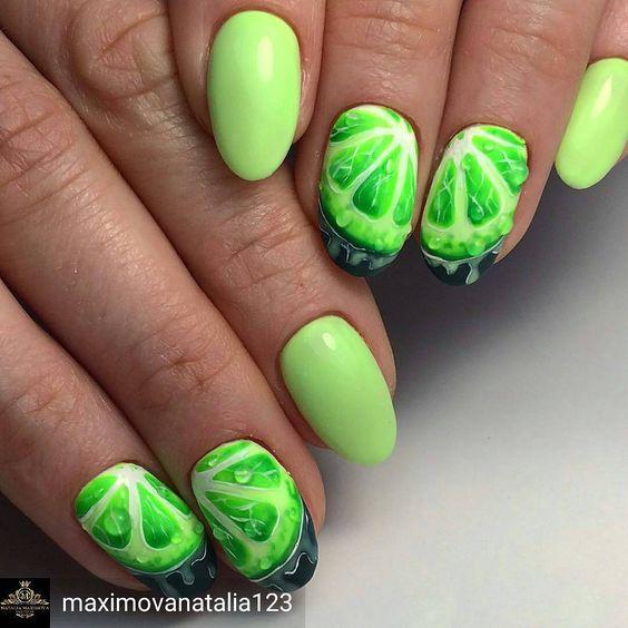 Zielone paznokcie z limonką