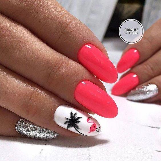 Malinowe paznokcie z wzorkami