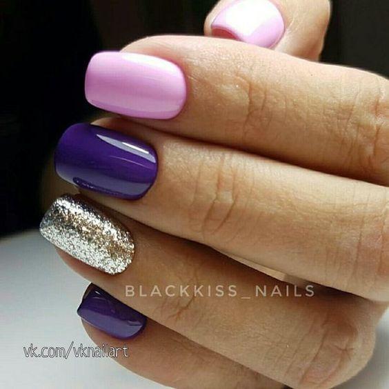 Fioletowo różowe paznokcie