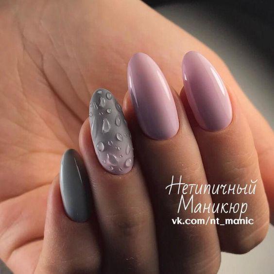 Szare paznokcie z wzorkami 2019