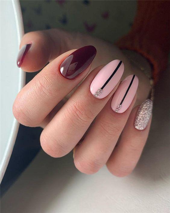 Brokatowe paznokcie na jesień