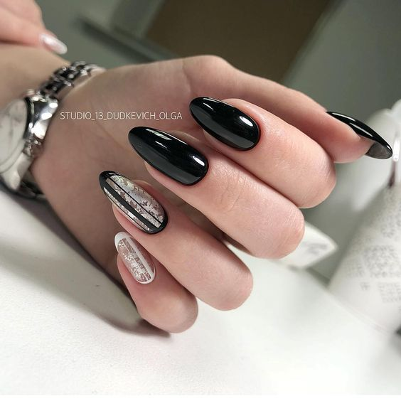 Czarno białe paznokcie hybrydowe