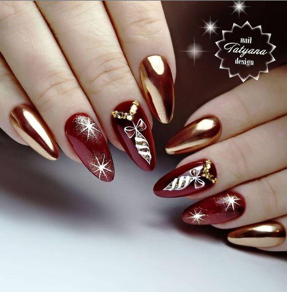 Bordowo złote paznokcie na święta