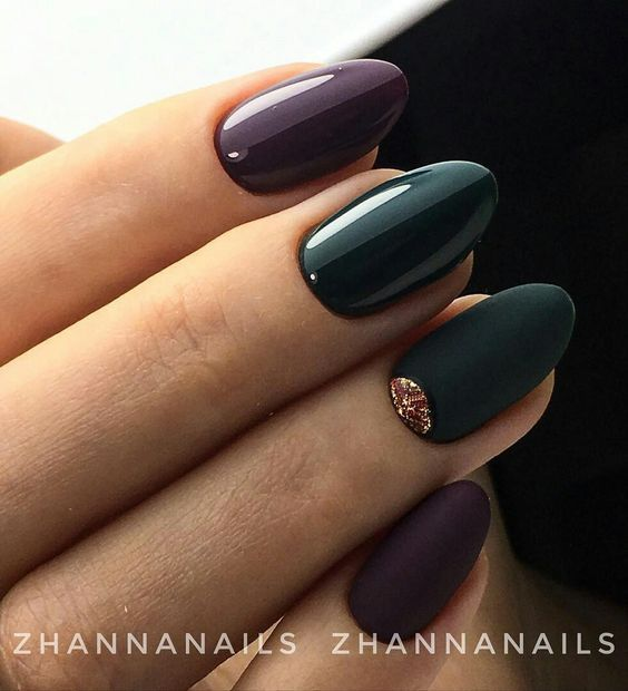 Zielono fioletowe paznokcie