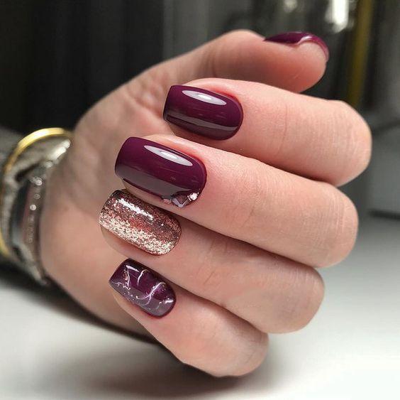 Bordowe paznokcie na Sylwestra
