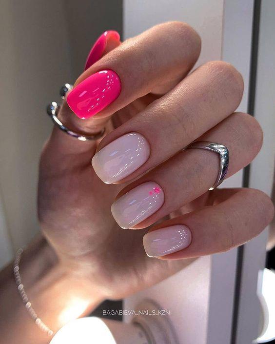 Neonowe różowe paznokcie 2020