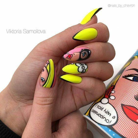 Neonowe paznokcie z wzorkami