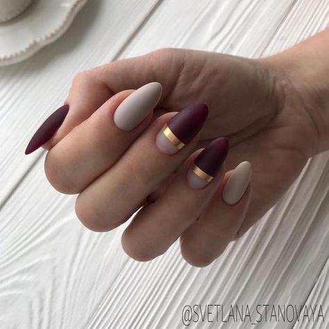 Beżowo bordowe paznokcie na jesień