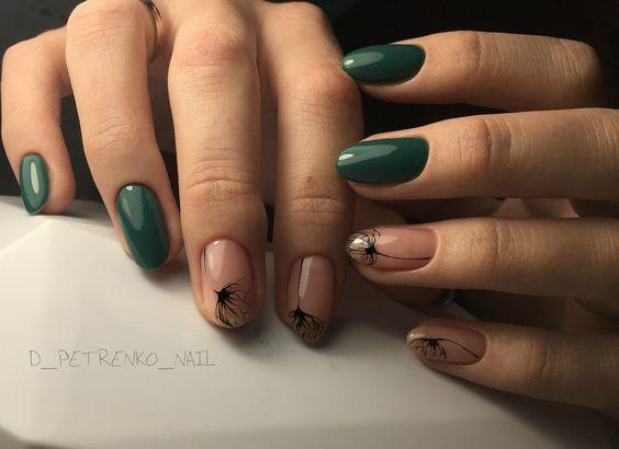 Zielone paznokcie z wzorkami na jesień