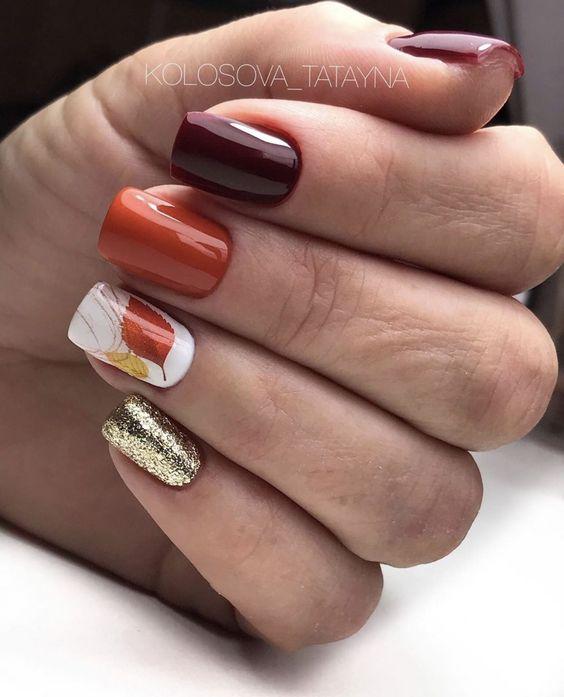 Krótki manicure na jesień