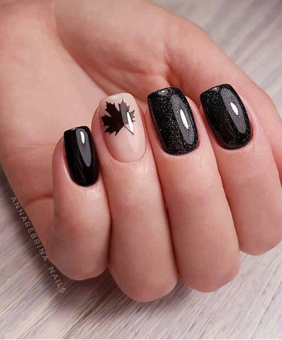 Krótkie paznokcie z listkiem