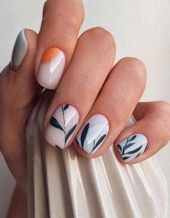 Krótkie paznokcie z wzorkami