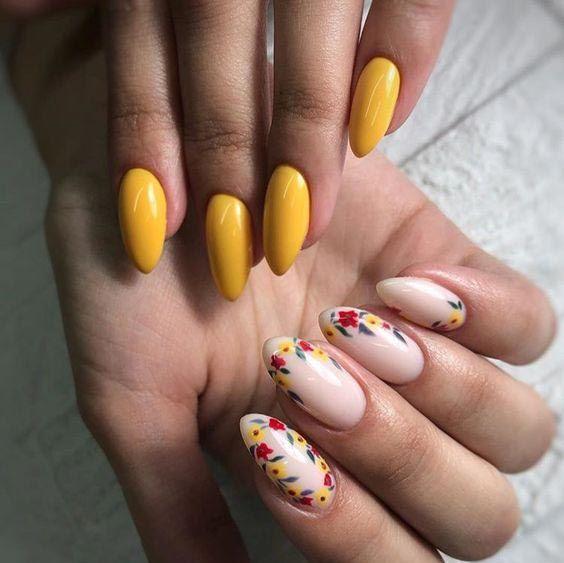 Żółte paznokcie z wzorkami na wiosnę