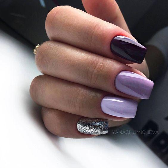 Fioletowo wrzosowe paznokcie
