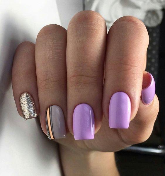Szaro wrzosowe paznokcie