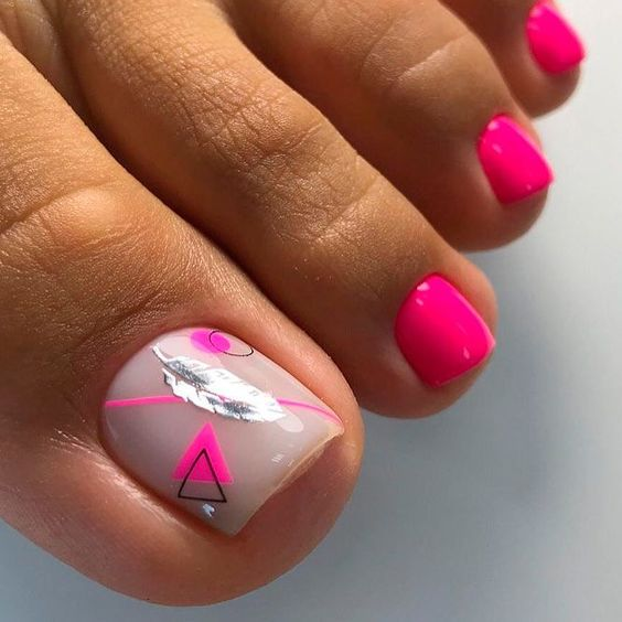 Neonowe różowe paznokcie u stóp na lato