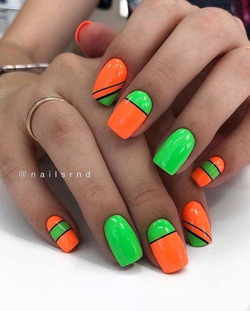 Manicure w jaskrawych kolorach