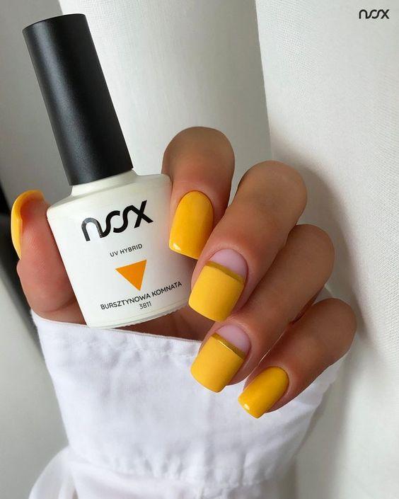 Jesienne paznokcie w kolorze żółtym