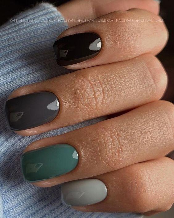 Kolorowe jesienne paznokcie